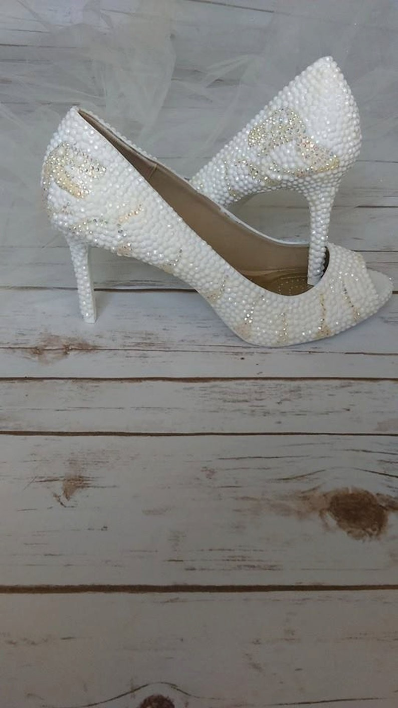 06a3c690e11 White crystal dinosaur high heels custom made to order. Sizes