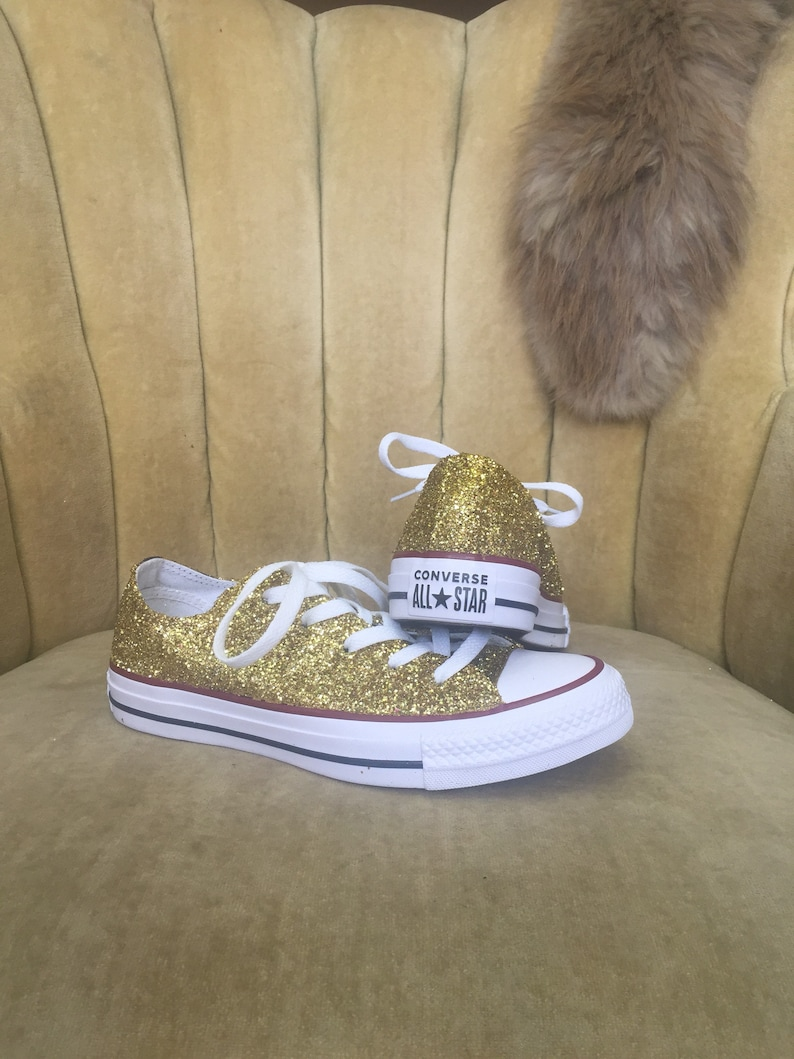 d5af7dcc677a Authentic converse all stars in gold glitter. Custom made to order in any  color ... Authentic converse all stars in gold glitter.