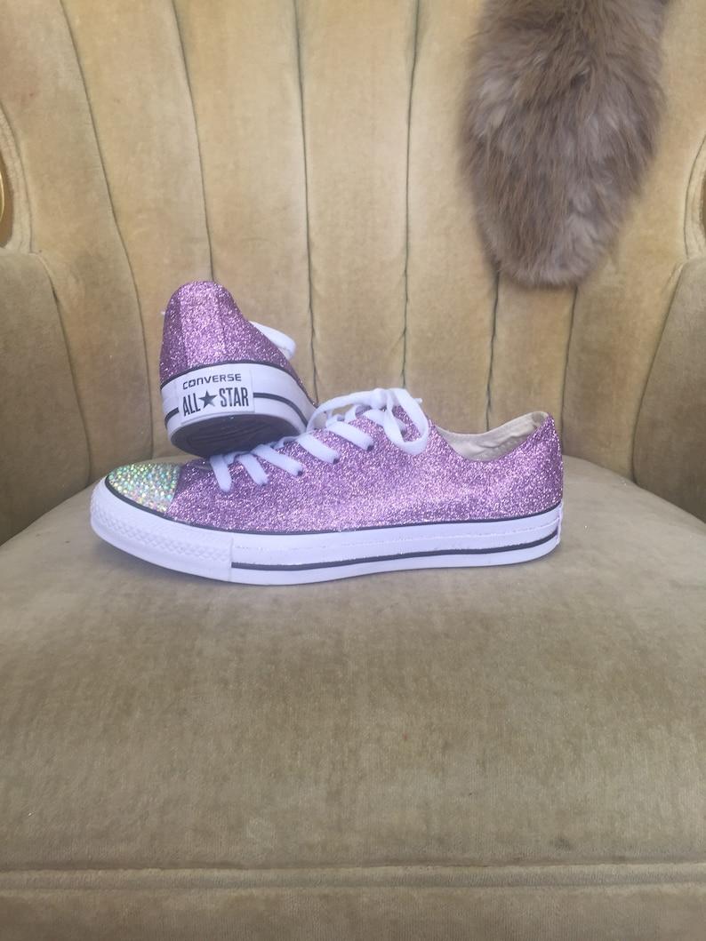 ac8ff219f93e Authentic converse all stars in lavender glitter. Custom made