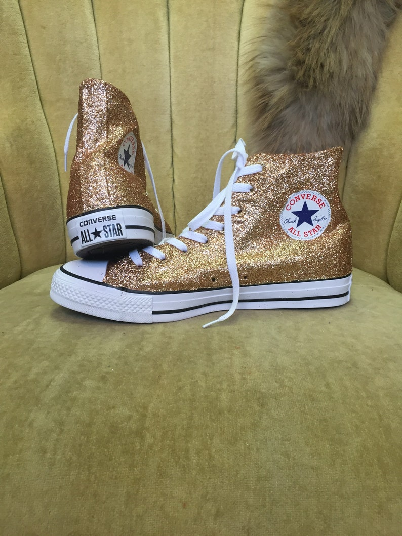 d380c1d57318 Authentic converse all stars in rose gold glitter. Custom made