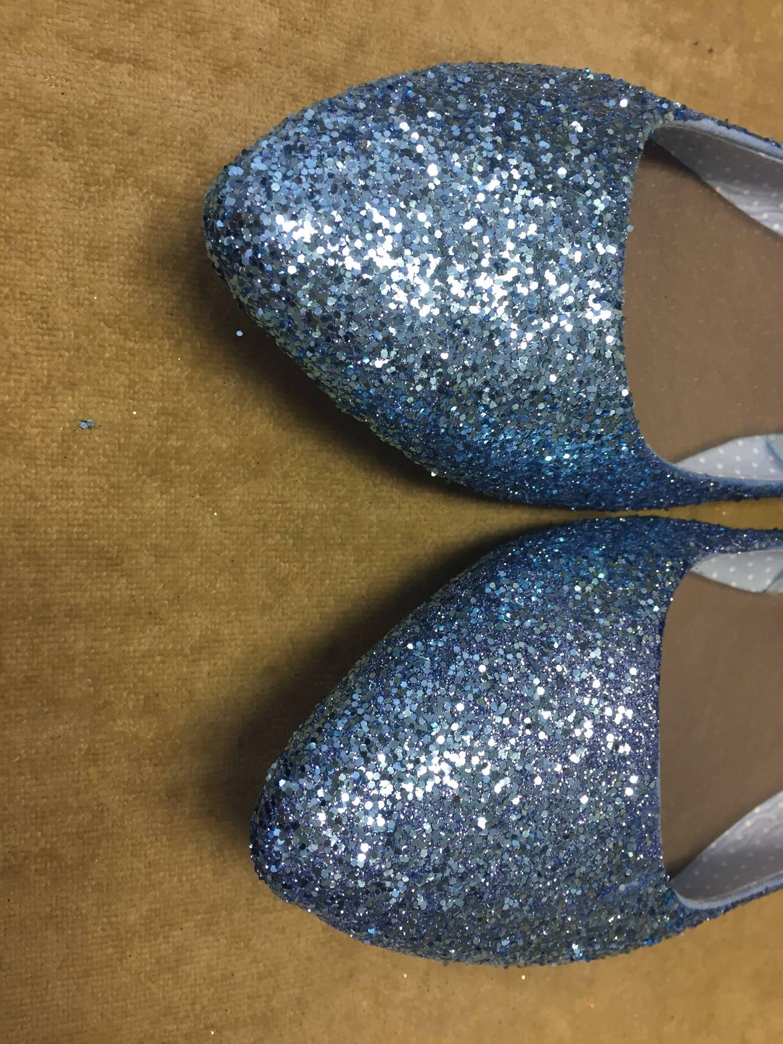 woman's custom made to order light blue glitter ballet flats. pointed toe ballet flats. glitter flats. slip on shoes