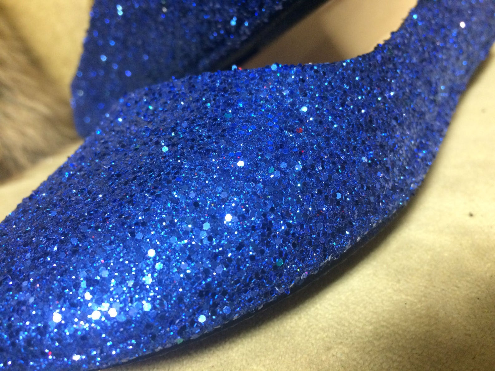 women's custom made to order blue glitter ballet flats. glitter flats. slip on shoes