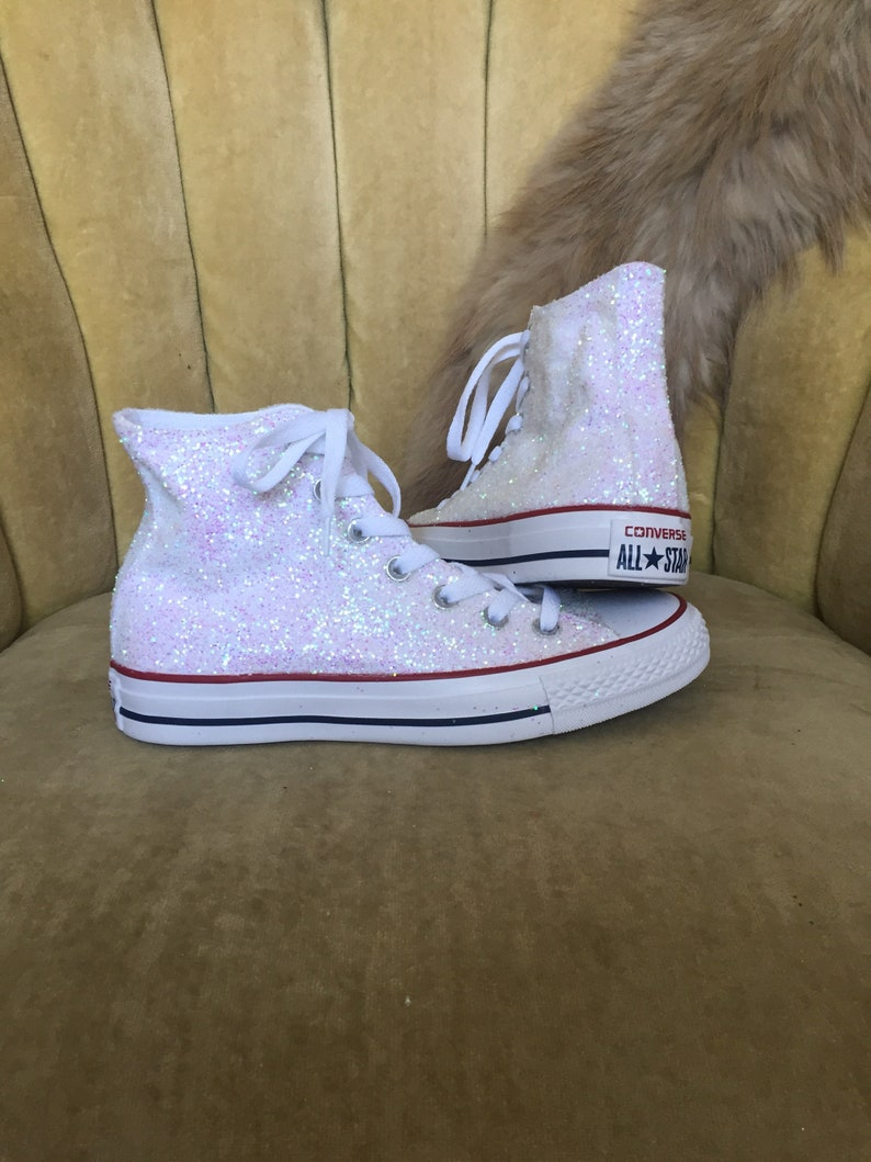 Authentic converse all star in white glitter. Custom made to  ea9555330307