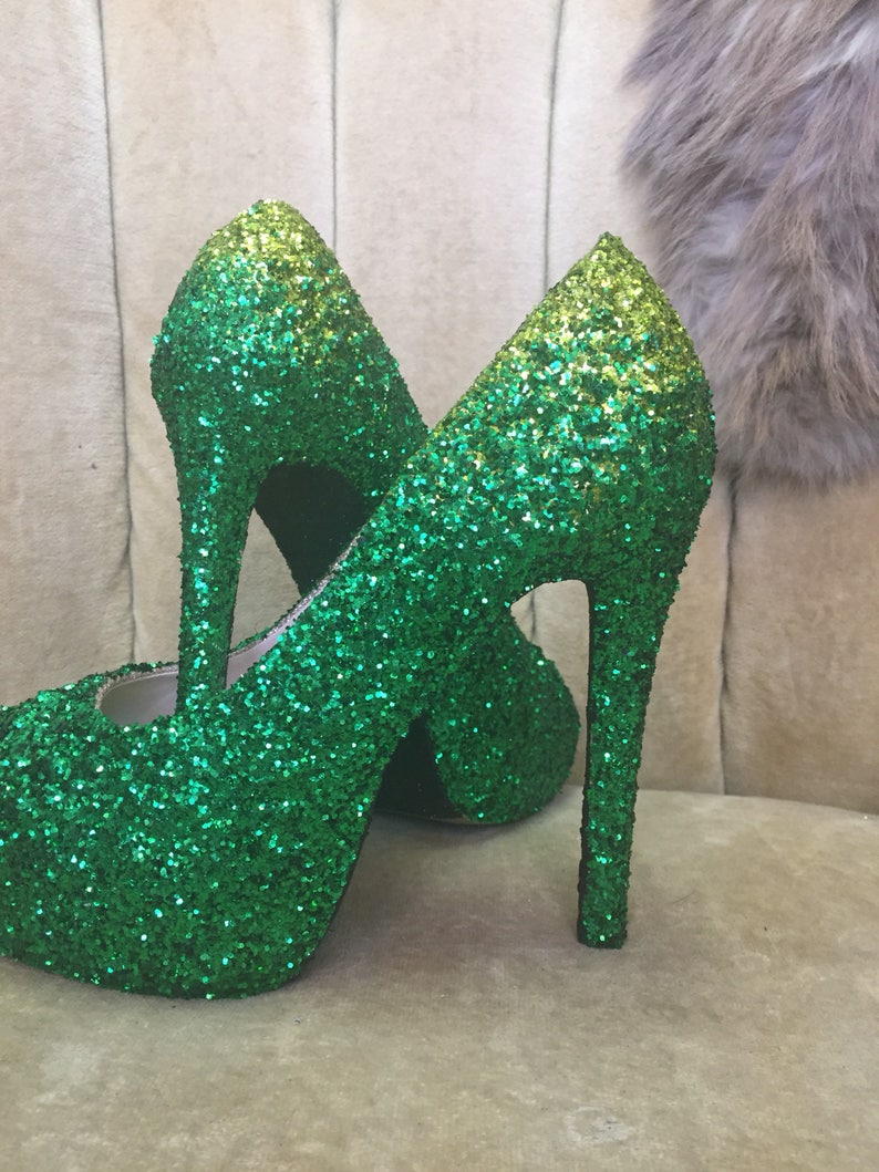 8056a1cc49454 Green ombre high heels. Custom made to order in various heights and sizes.