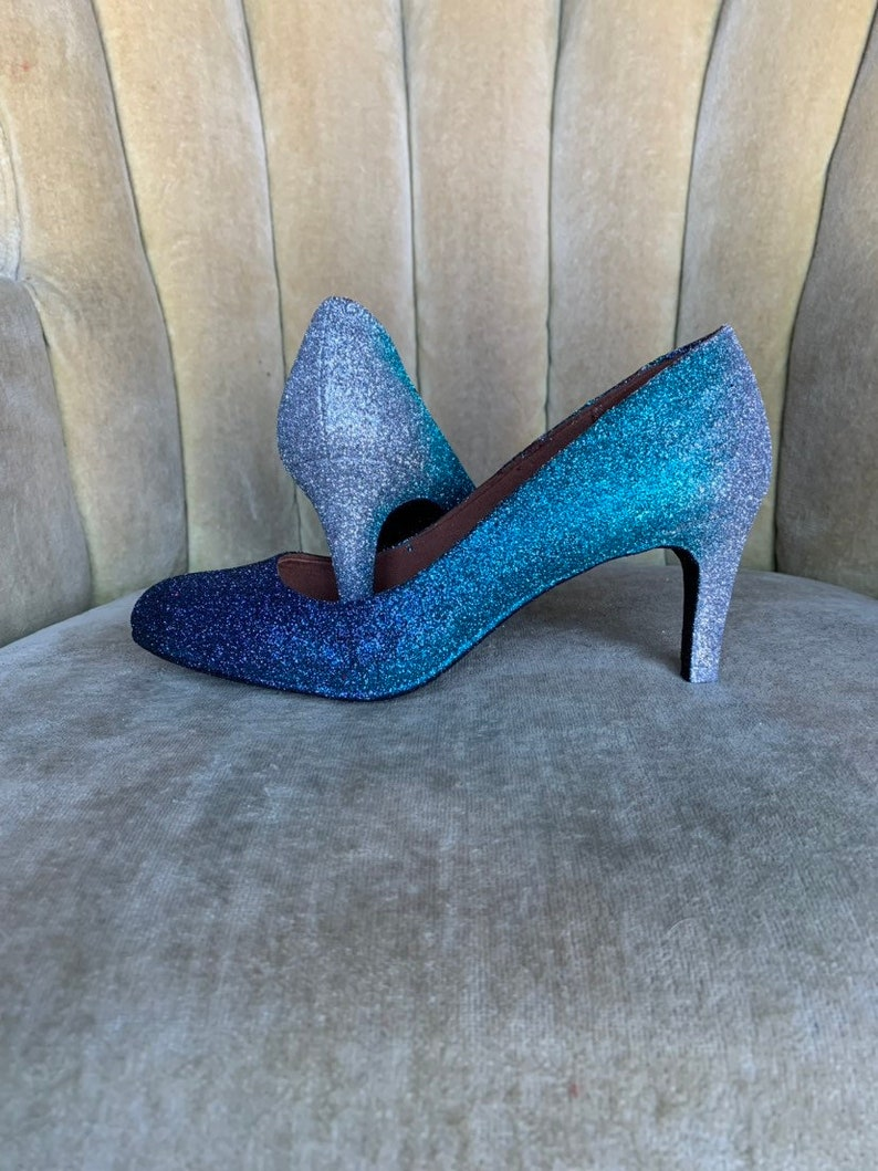 8749eadb758fd Custom made to order. Teal blue glitter Ombre high heels. You choose the  height and style.