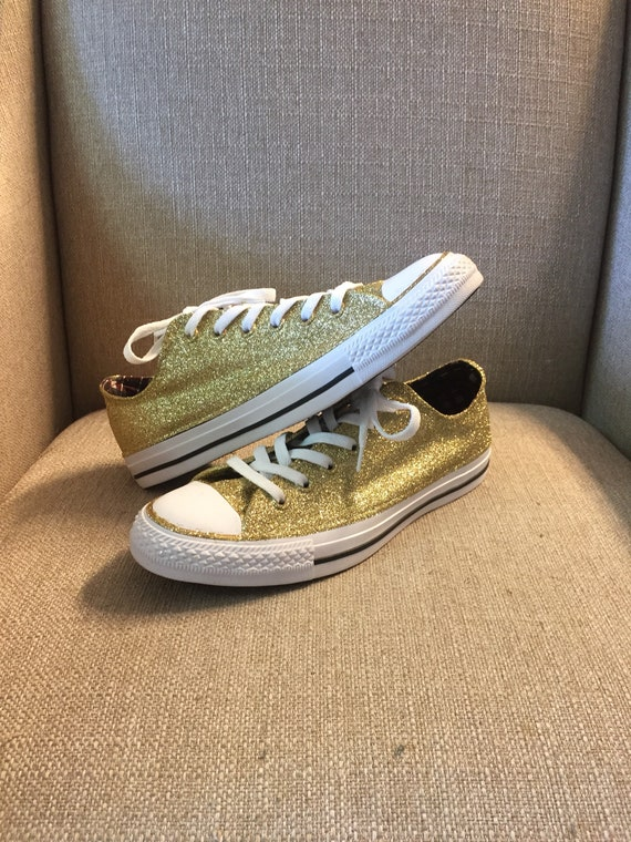 Authentic converse all stars in gold glitter. Custom made to order in any color high top or low top chucks.