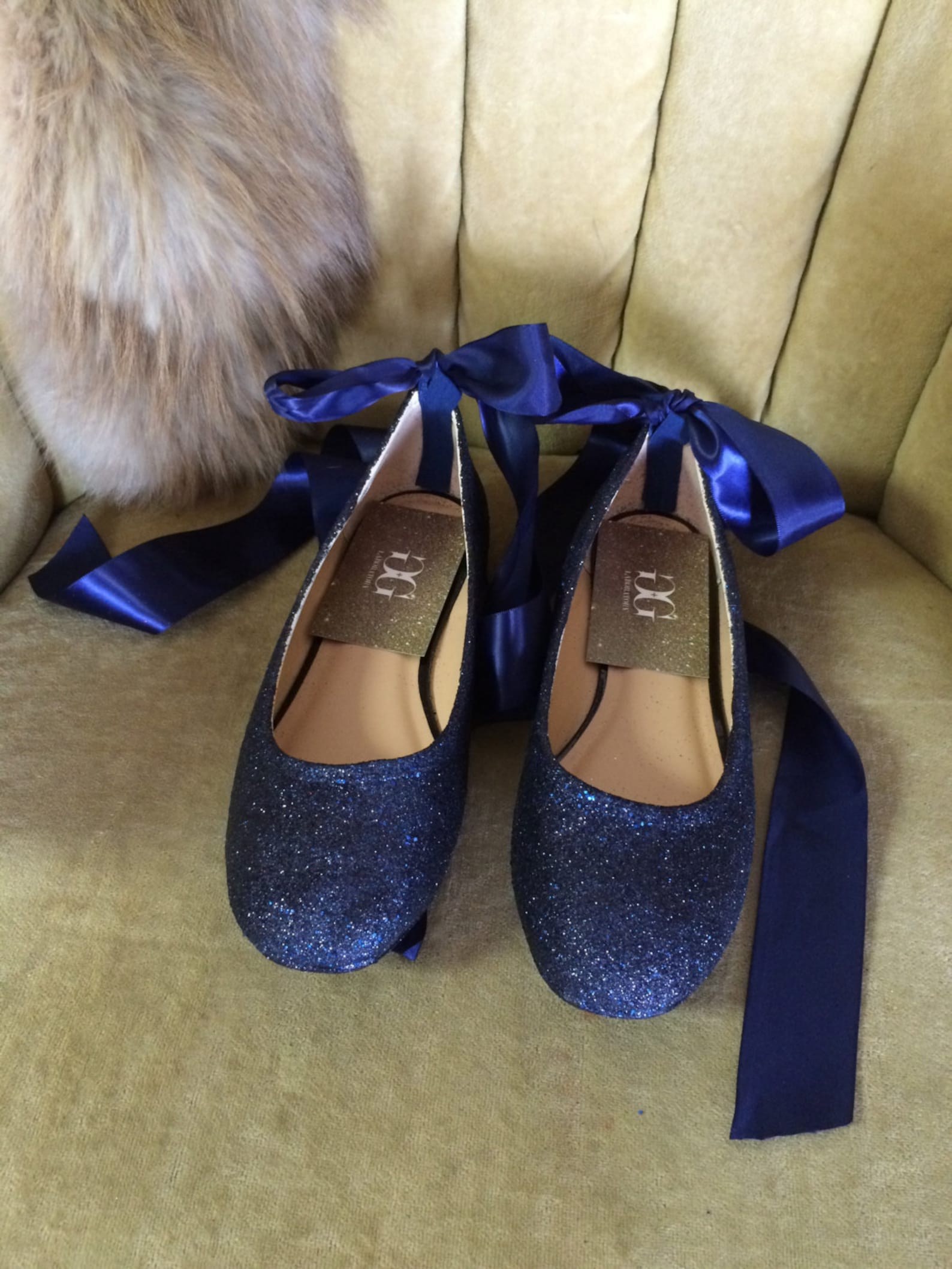 blue glitter lace up ballet flats. custom made to order. women's sizes only.