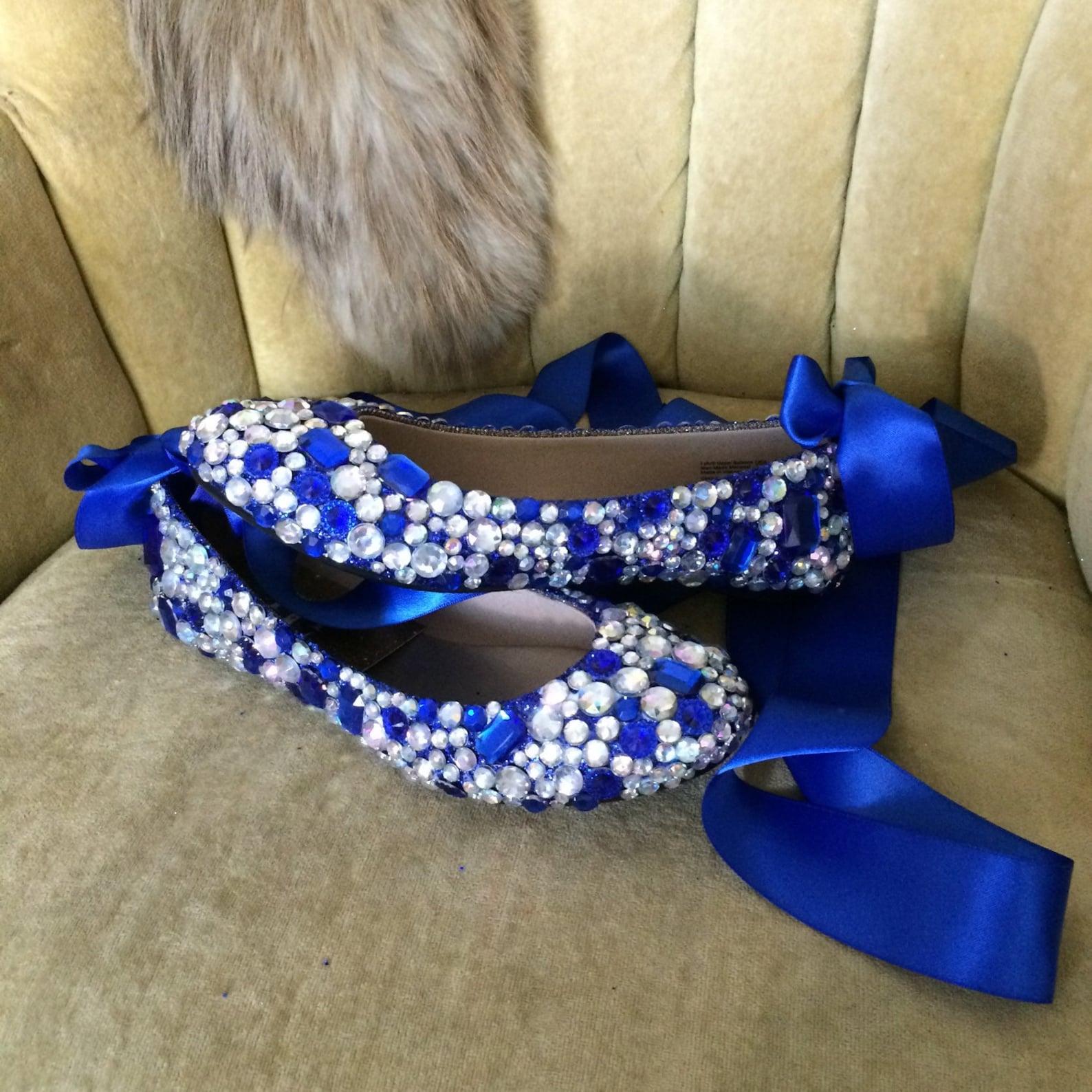 custom made to order, crystal ballet flats. wedding flats brides maids flats. indigo, blue, ab clear stones