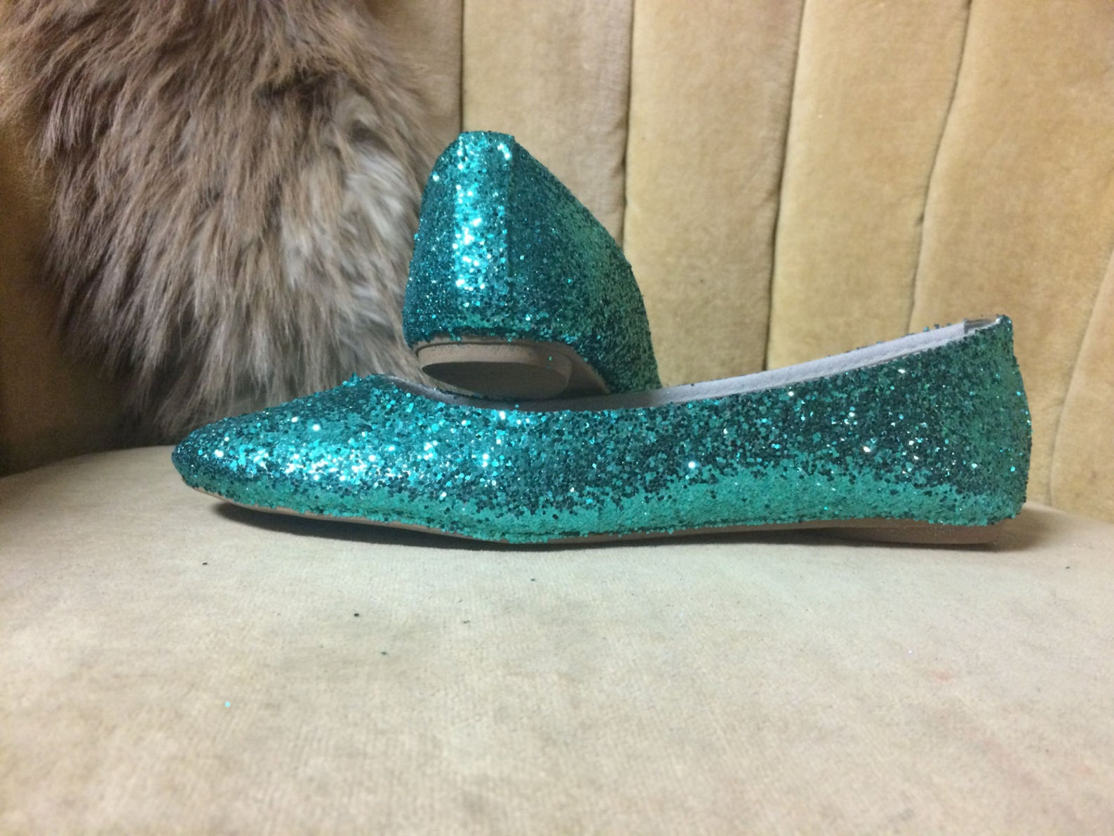 woman's custom made to order teal glitter ballet flats. glitter flats. slip on shoes