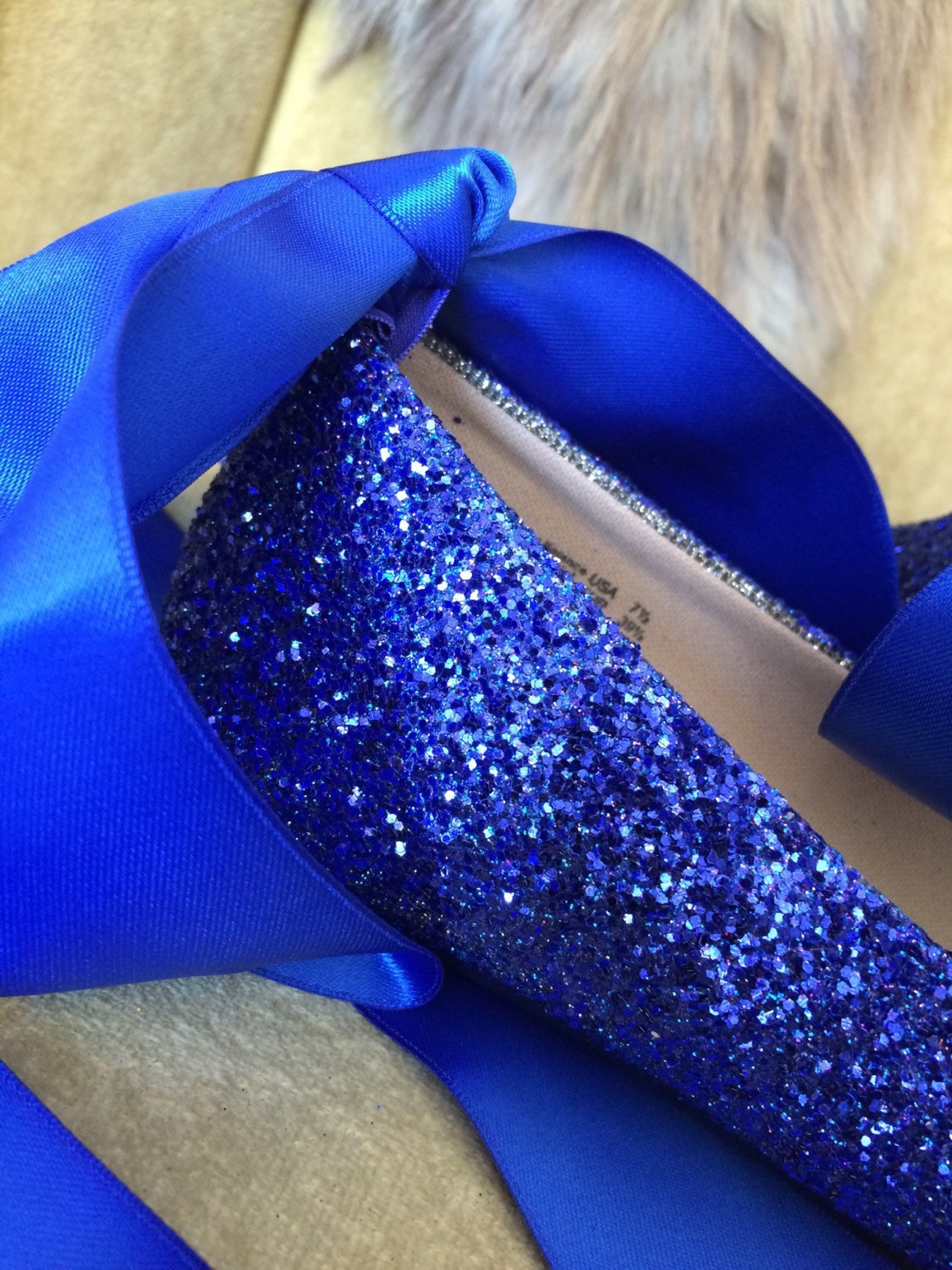 blue glitter lace up ballet flats. custom made to order. women's us sizes 5-12