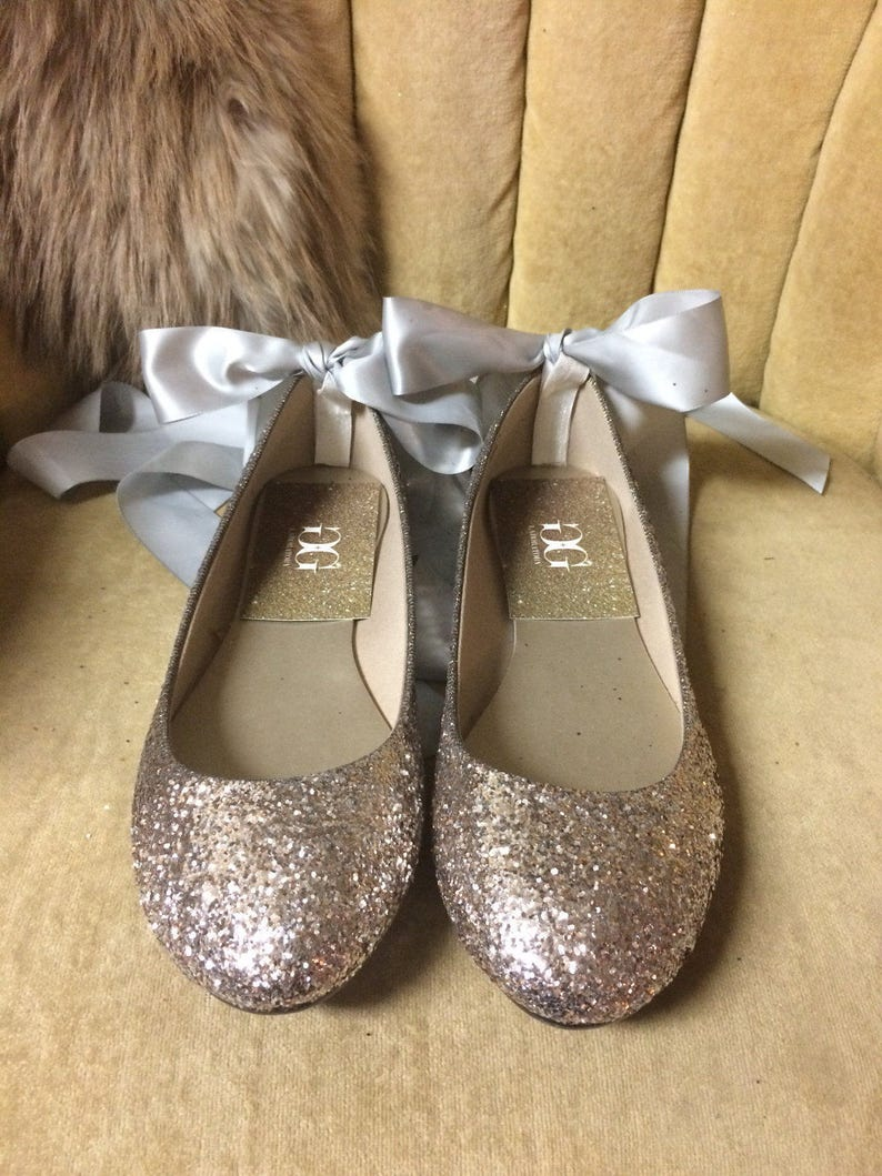 d7d15e0bc4e3 Champagne gold silver glitter lace up ballet flats. Custom