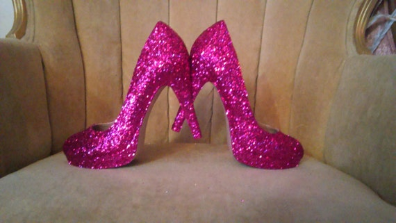 845b897d9af6 Custom made to order. Glitter high heels. Hot pink glitter