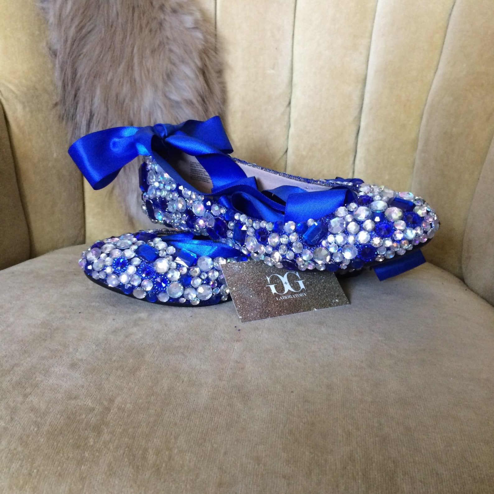 custom made to order, crystal ballet flats. wedding flats brides maids flats. indigo, blue, ab clear stones