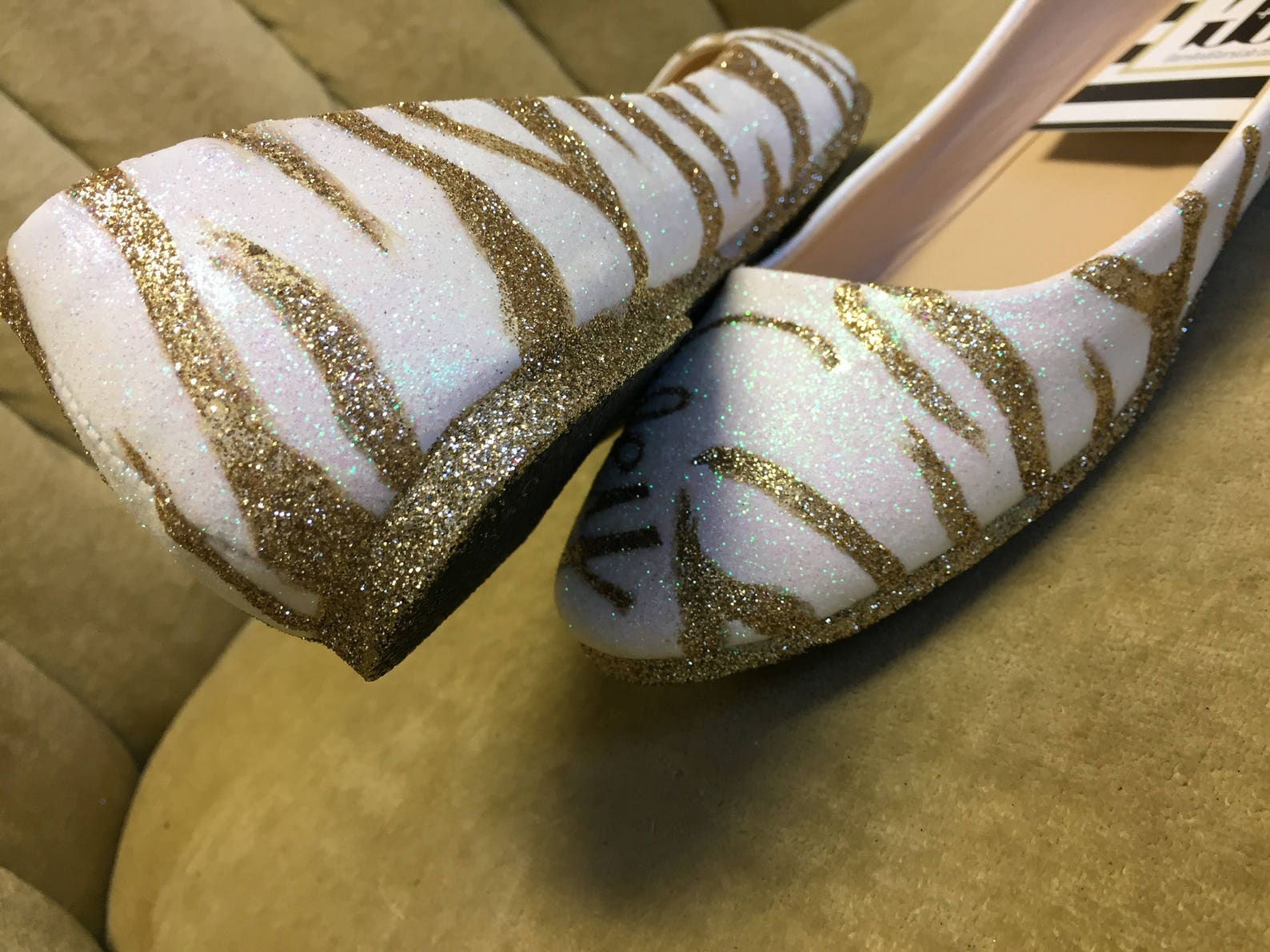 glitter flats. zebra ballet flats. gold and white.