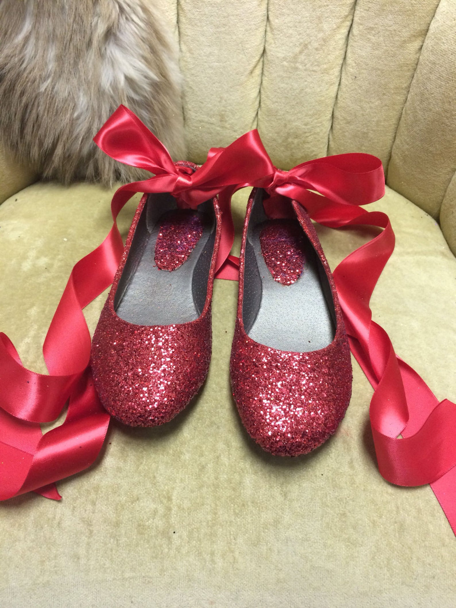 red glitter lace up ballet flats. custom made to order. womens sizes only.
