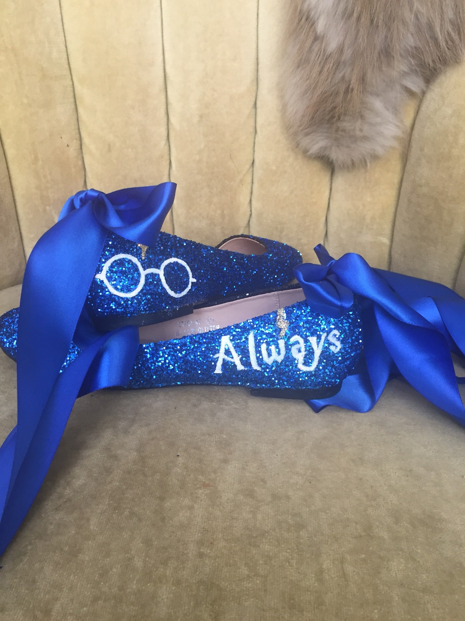 custom made to order. blue glitter always hp, lace up ballet flats . custom made to order. women's us sizes 5-12