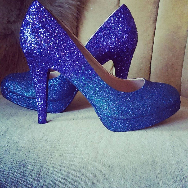 859d6dff859d Glitter high heels. Ombre purple and dark blue. Bridal shoes.