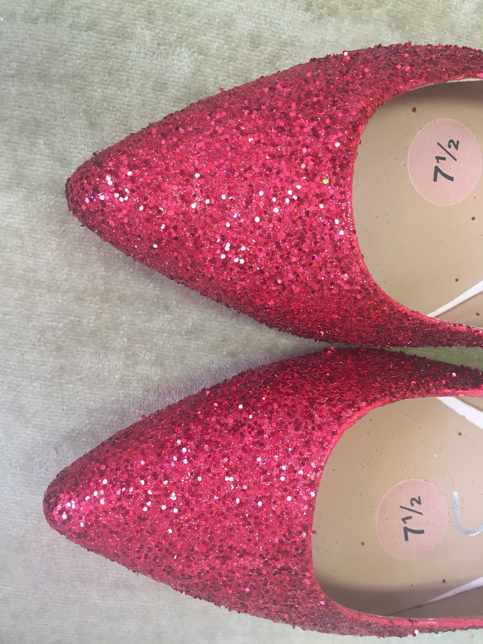 women's custom made to order red glitter pointed toe ballet flats. glitter flats. slip on shoes