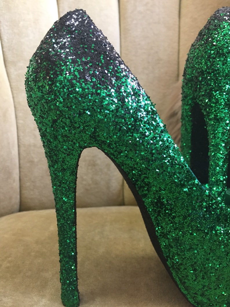 d514725c4ada4 Green to black ombre high heels. Custom made to order in various heights  and sizes.
