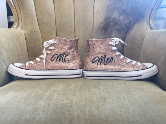 Authentic converse all stars in rose gold glitter. Custom made with Mr. and Mrs.