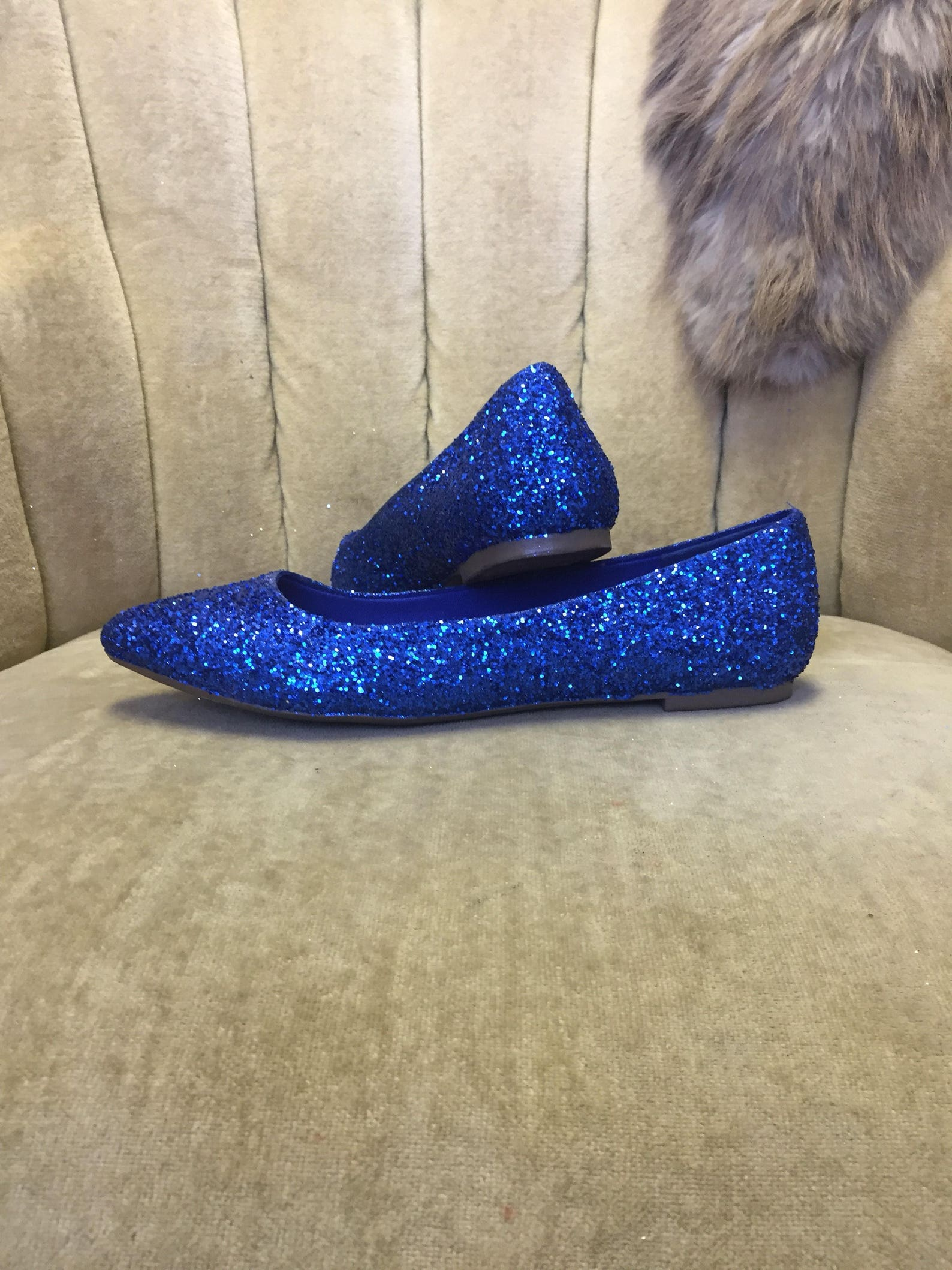 women's custom made to order blue glitter ballet flats. pointed toe ballet flats. glitter flats. slip on shoes