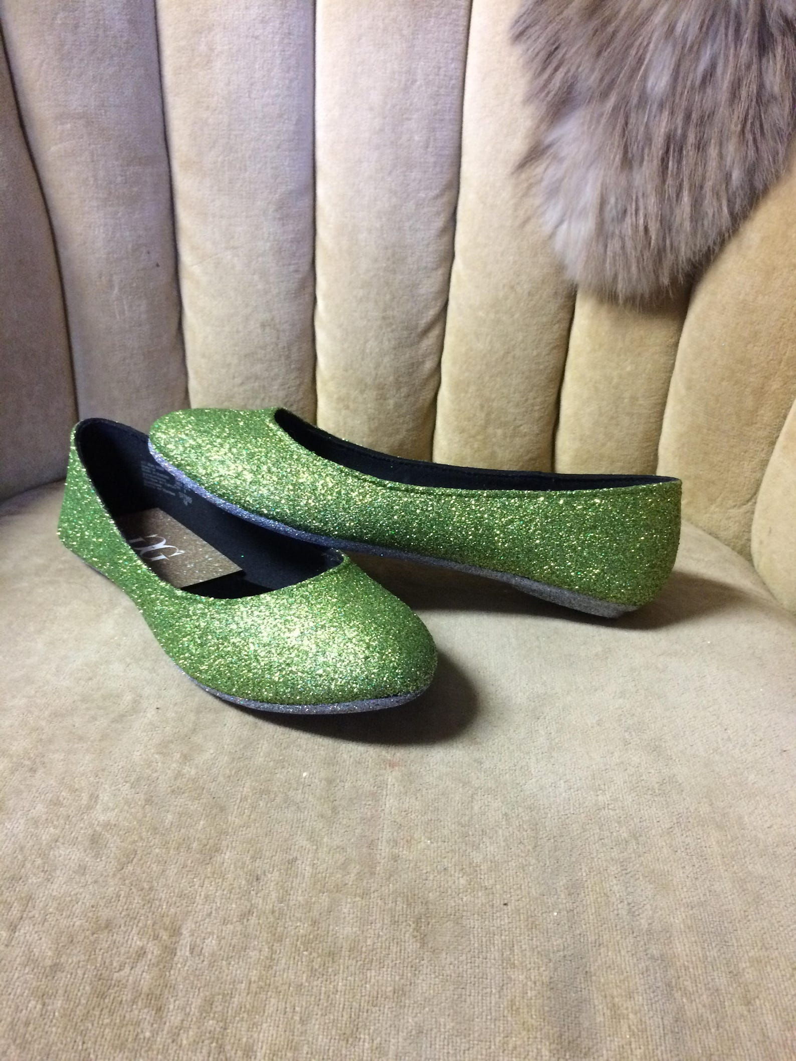women's custom made to order light green glitter ballet flats. glitter flats. slip on shoes