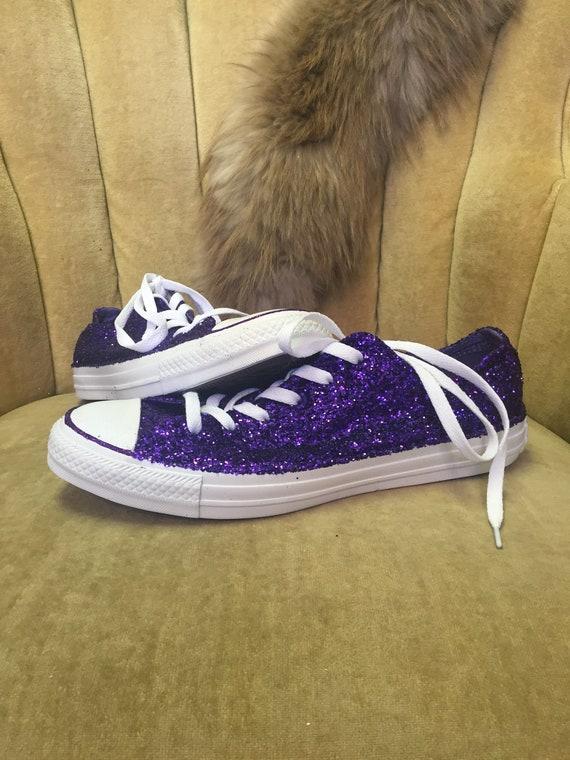 dd57863bf53b Authentic converse all stars in purple glitter. Custom made to