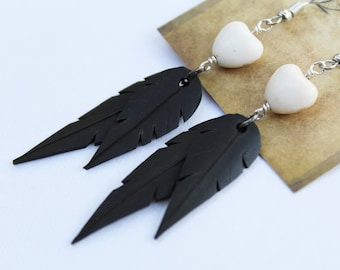 Faux Feather Earrings | Recycled Bike Tire Tubes | White Magnesite Heart Beads