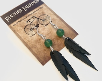 Light Jade Beads | Recycled Bike Tire Tubes | Faux Feather Earrings