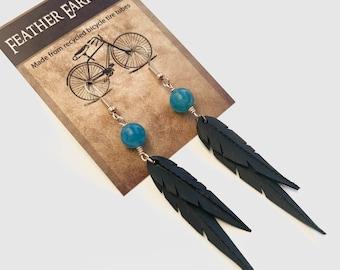 Blue Sponge Quartz Beads | Recycled Bike Tire Tubes | Faux Feather Earrings