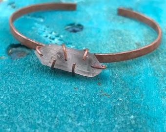 Quartz Point Crystal Copper Cuff