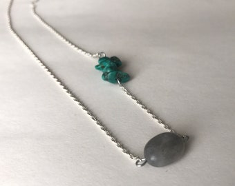 Minimalist Labradorite and Vintage Turquoise Chip Silver Crystal Necklace