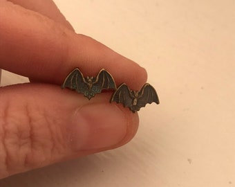 Tiny Brass Bat Earrings