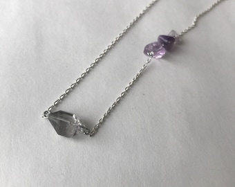 Herkimer Diamond and Vintage Amethyst Chip Silver Crystal Necklace