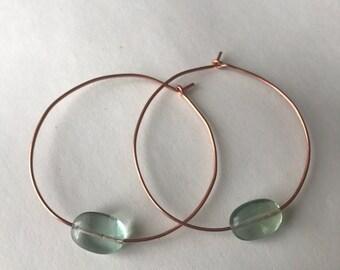 Fluorite and Copper Crystal Hoop Earrings