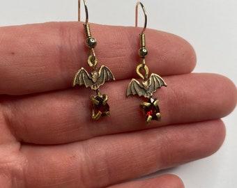 Tiny Brass Bat and Garnet Teardrop Earrings