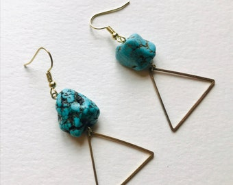 Turquoise Howlite and Brass Triangle Geometric Earrings
