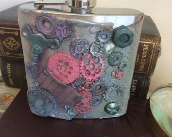 Steampunk hip flask, Gentleman's hip flask, Embellished hip flask, Great gift, Fathers day present, Groomsmen's gift, Wedding day gift