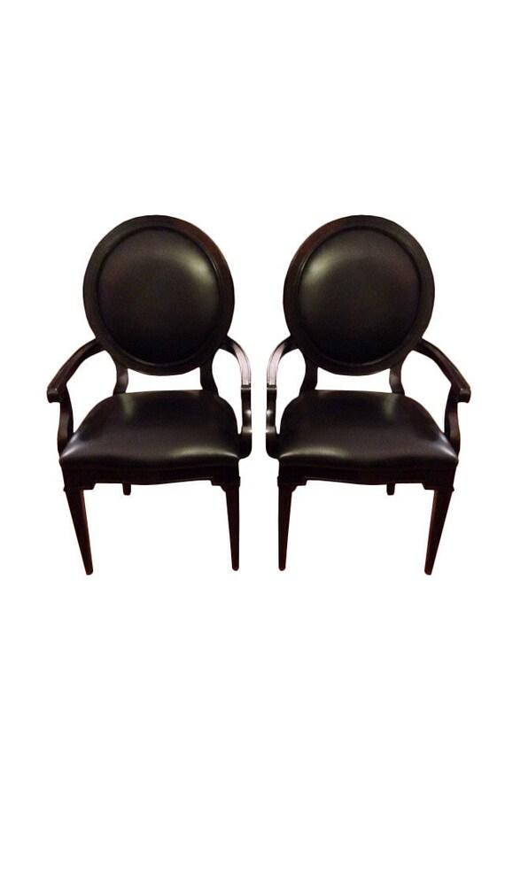 Marvelous 2 Black Leather Queen Anne Arm Chairs Sold Creativecarmelina Interior Chair Design Creativecarmelinacom