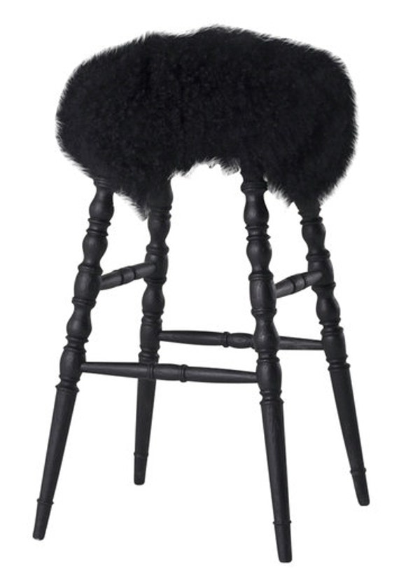san francisco b6863 fafd4 Pair of Faux Fur Bar Stools/Counter Stools/Vanity Stool