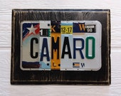 CAMARO License Plate Art - Christmas Gift for Him - Fathers Day - Chevrolet Camaro Sign - Car Lover Mechanic - Upcycled License Plate