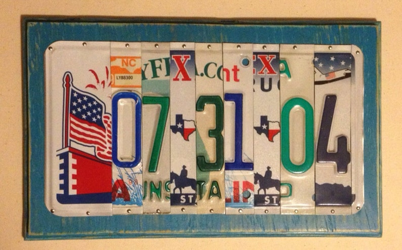 License Plate Date Sign with Flag - Military Birthday Gift - Birthdate Gift  for Husband - Marine Gift - 10 Year Anniversary Gift - Military