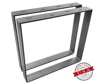 """2 Pack - (2"""" Wide - 1/4"""" Thick Metal) (Size Range: 8-20""""L x 4-38""""H) Square Metal Legs"""