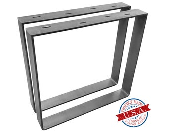 "2 Pack - (2"" Wide - 1/4"" Thick Metal) (Size Range: 21-35""L x 4-38""H) Square Metal Legs"