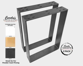 "2 Pack - (3"" Wide - 1/4"" Thick Metal) (Size Range: 21-35""L x 4-38""H) Square Metal Legs"