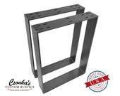 2 Pack - (3 quot Wide - 1 4 quot Thick Metal) (Size Range 8-20 quot L x 4-38 quot H) Square Metal Legs, Table Legs, Bench Legs, Legs, Industrial Modern, DIY