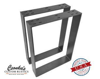 "2 Pack - (3"" Wide - 1/4"" Thick Metal) (Size Range: 8-20""L x 4-38""H) Square Metal Legs"