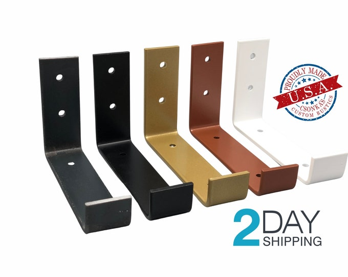 Featured listing image: SINGLE Powder Coated Color Hook Shelf Brackets