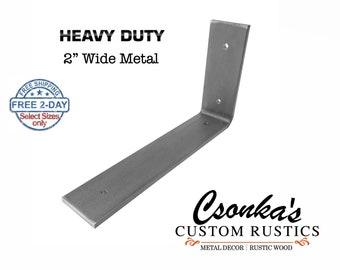 """Heavy Duty Custom Angle Shelf Bracket (2"""" Wide - 1/4"""" Thick)"""