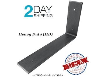 """Heavy Duty Custom Angle Shelf Bracket (1.5"""" Wide - 1/4"""" Thick)"""